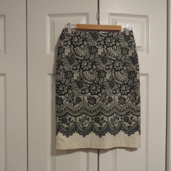 f80b2324be Talbots Skirts | Black Cream Lace Print Pencil Skirt Sz 2 | Poshmark